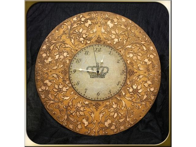 Часы декупаж объемный трафарет Barocci (2)