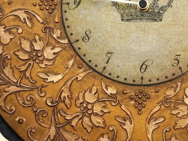 Часы декупаж объемный трафарет Barocci