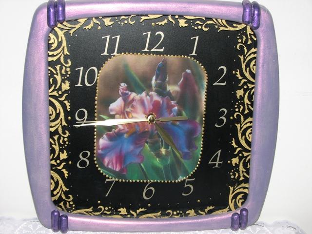Трафарет в декупаже часы 12